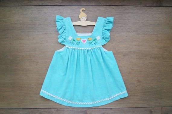Vintage Baby Clothes, Baby Girl Turquoise Blue Corduroy Pinafore Dress with Bird Appliques, 12 Months