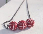 Red essential oil diffuser necklace, African terra cotta beads