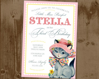 Little Miss Perfect Sweet Vintage Kitty Printable Party Invite Perfect for little Girl