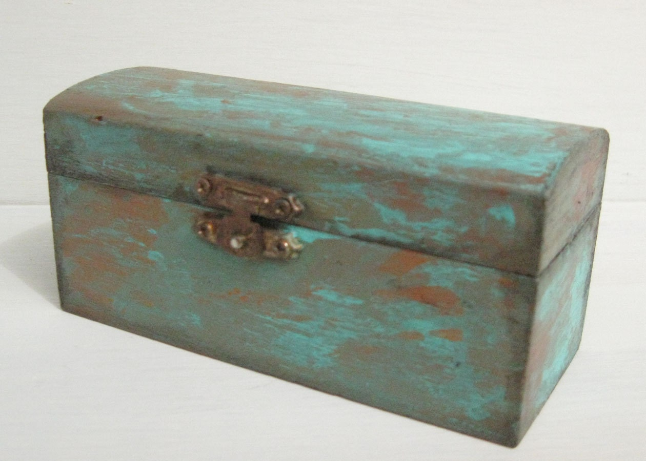 hand painted small wooden jewelry box with faux copper patina. Black Bedroom Furniture Sets. Home Design Ideas
