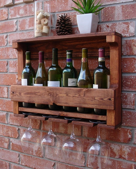 Corvallis Rustic Wall Mount Wine Rack With 4 Glass By Keodecor