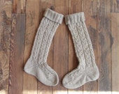 knee high socks with cable pattern