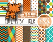 Tiger Digital Paper Clip art Patterns for Baby Shower Invitations Birthday Party Jungle Safari Party Labels Cupcake toppers banner scrapbook