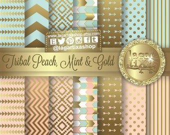 TRIBAL Gold Pale Coral Salmon Peach Mint Digital Paper Background Chevron Polka dots Scrapbooking Blog invitations thank you cards