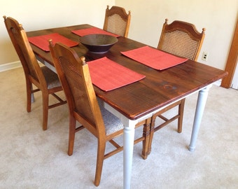Rustic Dining Table - Farmhouse Solid Pine Wood Kitchen Table