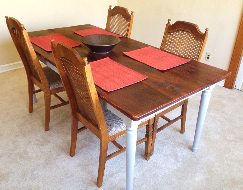 Rustic Dining Table Farmhouse Solid Pine by SugarMtnWoodworks