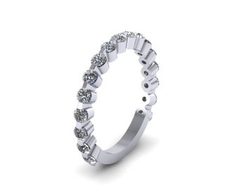 Diamond 3/4-Way Band Matching Band 14K White Gold Band  Sparkling Rings Brilliant Bands Bridal Set Marriage Rings Wedding Proposal - V1086