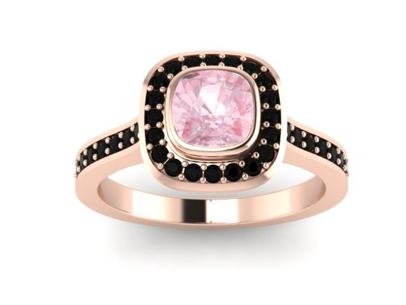 Cushion cut morganite engagement ring cushion shape halo black diamond