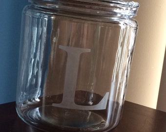 Monogrammed etched glass cookie jar