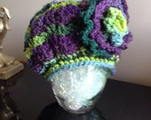 Multicolor beanie with flower