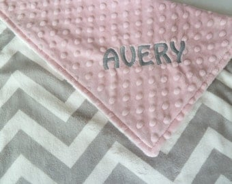 Personalized Baby Blanket or Lovey -  Baby Girl or Boy blanket - Light Gray Chevron front - You Choose  back Minky Color