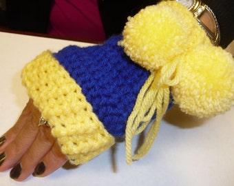 school colors fingerless gloves with pom poms