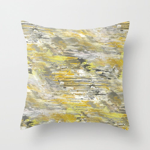 Yellow Grey Throw Pillow Cover Abstract Ombre Modern Home