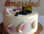 Hashtag Married -  #married - Classic Wedding Cake Topper With Hashtag Accent