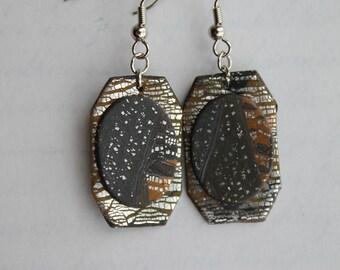 Orange and Silvers   - Handmade Polymer Clay Earrings