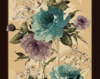 "Interlude Turquoise/Plum cotton panel -- approximately 23"" x 44"""