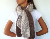 Chunky knitted scarf in cream and tan handmade with bulky wool. Womens winter scarf. Hand knitted scarf. Fall accessories for her. KEENbyAM