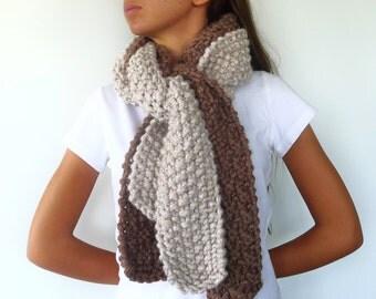 Bufanda de lana hecha a mano. Bufanda de punto para mujer. Moda de invierno. Bufandas tejidas. Ideas para regalar para ella