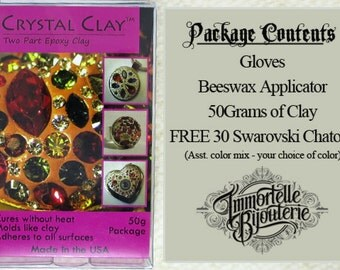 Crystal Clay 50G - Epoxy Clay - FREE CUSTOM 30pcs Swarovski Chaton Mix! - Offered in Black and Dk. Brown.