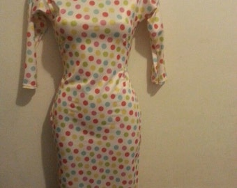 colored polka dots bodycon dress