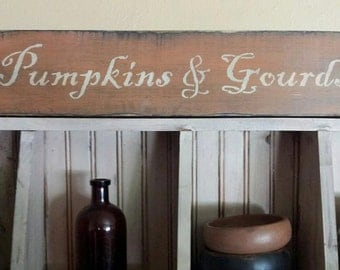 Primitive Fall Pumpkins & Gourds Sign