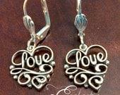925 Sterling Silver LOVE Lever-back Earrings