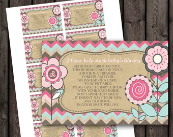 Baby shower, bring a book insert, baby girl shower, instant download tags