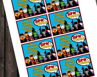 Superhero tags, instant download at purchase, quick ship