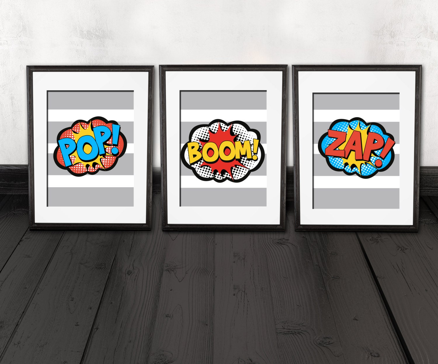 superhero wall art prints super hero word bubbles comic. Black Bedroom Furniture Sets. Home Design Ideas