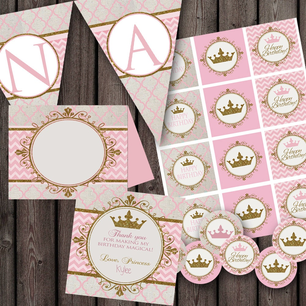 Princess Party Package Printable Party Supplies Pink And