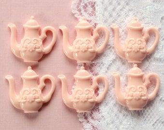 6 Pcs Pink Teapot Cabochons - 22x20mm