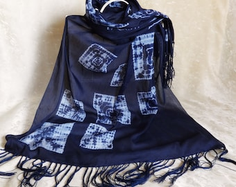Fringe tie-dye scarf Shibori hand dyed shawl Silk cotton Blue white scarf tie dye Large tasseled scarf Unique  scarf shawl shibori fabric