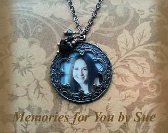 Personalized - Custom - Vintage Bronze Copper Photo Pendant Necklace - Memory - Keepsake Jewelry