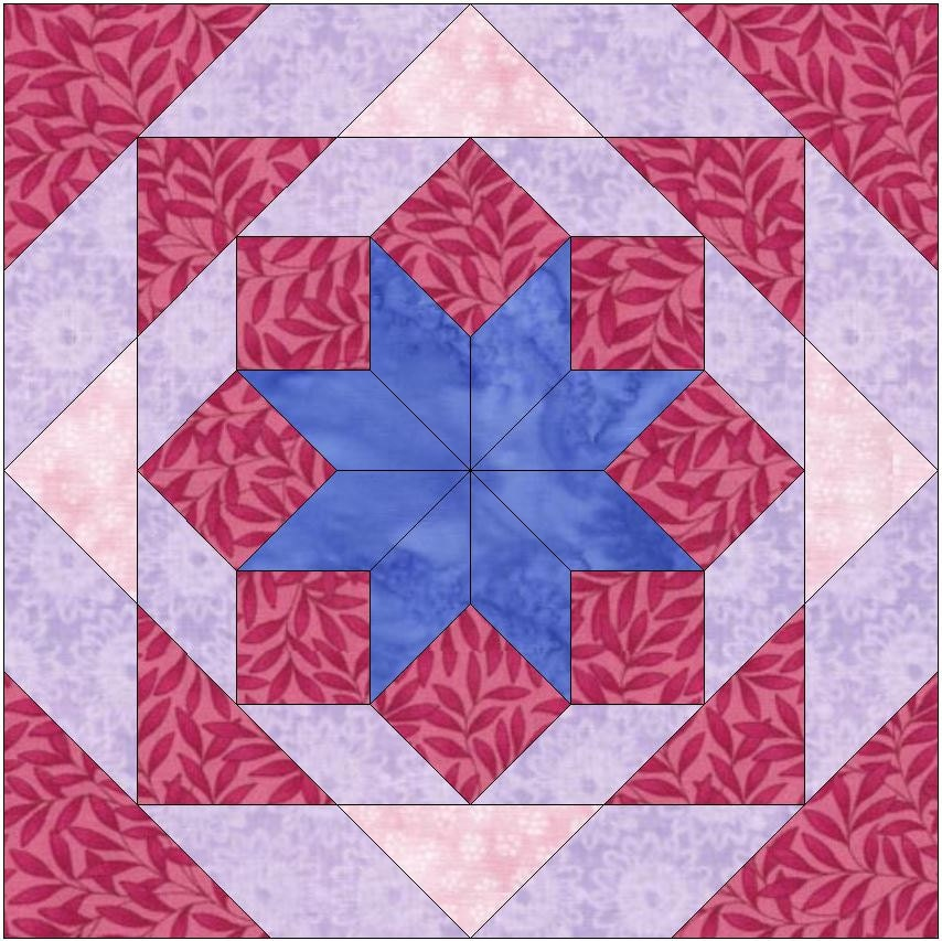star and chains paper template 10 inch quilting block pattern