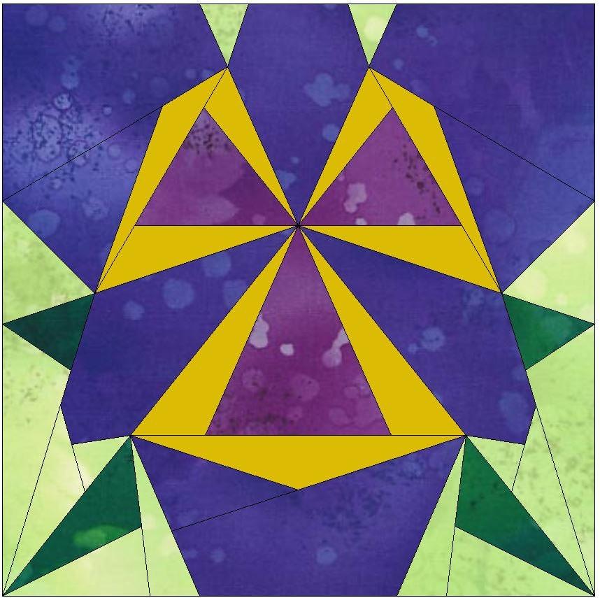Iris Flower Paper Template Quilting Block Pattern PDF