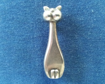 Vintage Sterling Danish Modern Cat Brooch Pin, A. Fausing Cat Brooch Pin