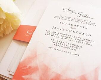 Floral Bliss Wedding Invitation Set {Invitation + RSVP + Reception Enclosures, Envelopes + Belly Band}
