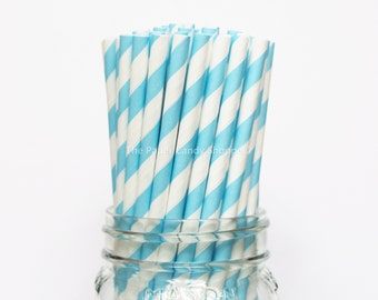 AQUA Blue Paper Straws, 25 Striped Paper Straws, Wedding Table Setting, Baby Shower, Kids Birthday Party, Cake Pop Sticks, Made in USA,