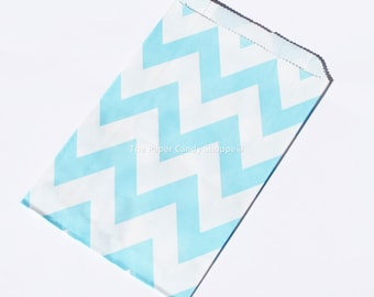 Chevron Favor Bags, 12 Light Blue Chevron Gift Bags, Popcorn Bags, Cookie Bag, Candy Buffet Bags Candy Bag, Wedding, Baby Shower, Birthday