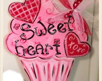 valentine door hanger valentine wreathvalentine cupcake door hangerwooden door hanger