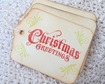 Stamped Christmas gift tags, stamped Christmas Tags, Vintage Holiday Tags, stamped Christmas hang tags, Christmas favor tags
