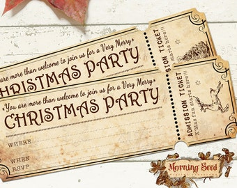 Printable Christmas Party Invitations Vintage Shabby 2 x 6 inch size - BONUS Included Envelope To Match Invitations - Printable Tickets