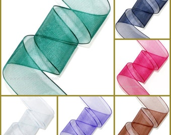 50yd  25mm, 40mm One Roll Organza Ribbon : Basic for gift wrapping, party favors, Christmas wrapping 28Colors  25,40mmX45M