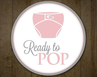 Baby Shower Ready to Pop labels, Pink and Gray, Ready to Pop Stickers, Baby Shower Labels, Popcorn Bag Labels