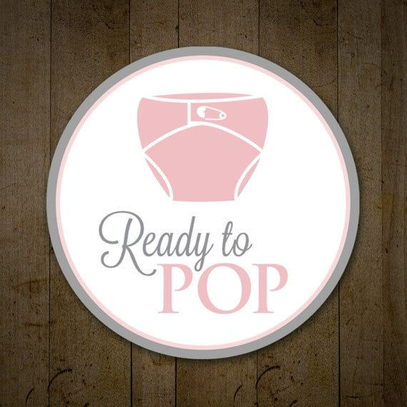 Baby shower ready to pop labels pink and gray ready to pop for Ready to pop popcorn labels