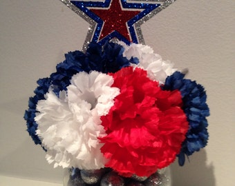 Wedding Centerpiece / Patriotic Centerpiece / Graduation Centerpiece / Father's Day Floral / 4th of July Decoration - Blues, White & Red