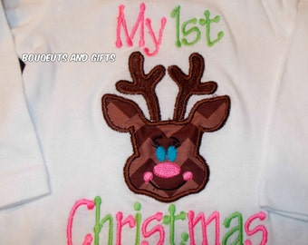My First Christmas Bodysuits, Baby Girl Christmas Bodysuits, Girl Christmas Bodysuits