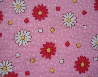 "Fat Quarter of Lecien Retro 30's Child Smile Pink Daisy Fabric. Approx. 18"" x 22"" Made in Japan"