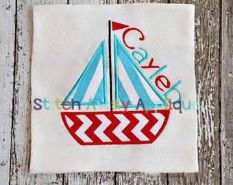 Simple Sailboat Machine Applique Design