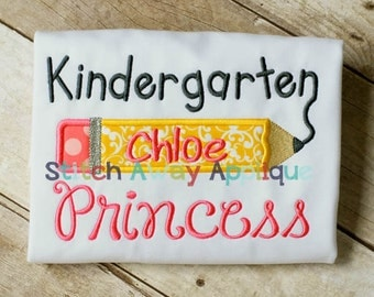 Kindergarten Princess Back to School Machine Applique Design